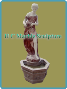 English Maiden w/ Jug Statue: in self Contained Marble Fountain