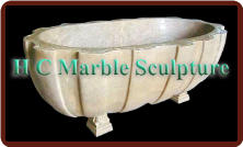 Oval Marble Bathtub Carved in Channel Design