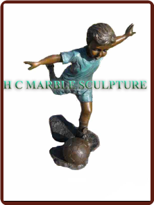 Young Soccor Player Bronze Statue