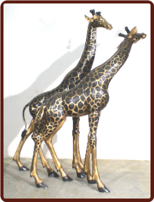 Bronze Pair of Large Giraffes