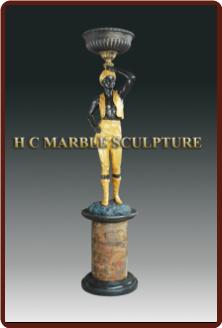 Art Deco Man Candle Holder Statue, facing right