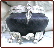 Dragon Fly Bronze Urn w/ Silver Leaf base