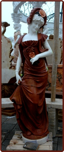 Marble Statue of Lady in Red
