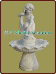 Boy with Fish Statue; Self Contained Marble Fountain