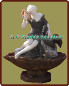 Marble Statue Fountain Woman w/Shell & Duck; in Self Contained Bowl