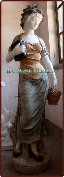 Marble Statue French Maiden by the Window