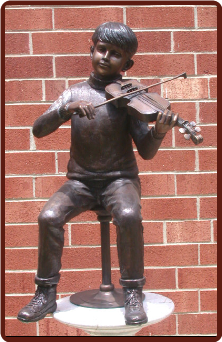 Boy with Violin, Bronze Statue