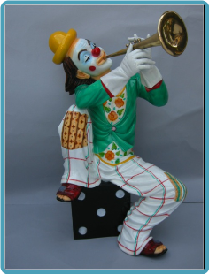 Clown Sitting w/Trumpet Bronze Statue