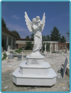 Angel Mother and Child on 3 tier base, marble statue