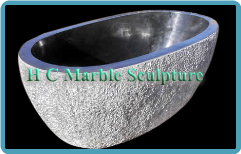 Marble Bathtub Carved in White Texture Oval shape
