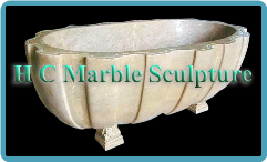 Marble Bathtub Carved in Oval Channel Design