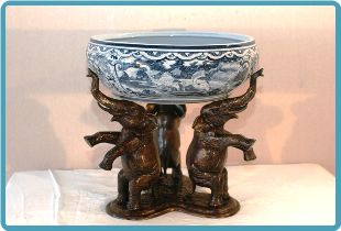 Bronze Elephant Base w/ Ceramic Bowl
