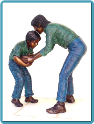 * Bronze Statues Children Playing Sports
