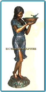 Bronze Fountain of Standing Girl with Birds Brn/Grn