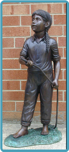 Bronze Fountain of Girl with Hose