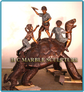 Giant Galapagos Turtle w/ Children Bronze Fountain
