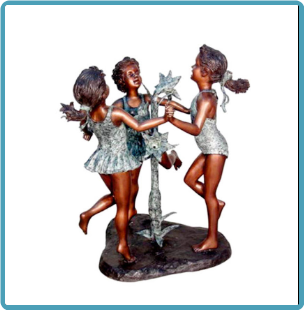 Bronze Three Girls Dancing Fountain
