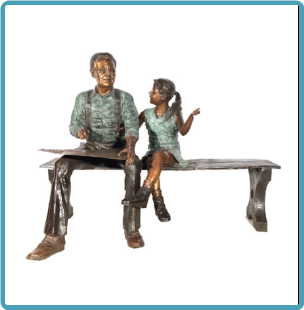 Bronze Grandfather and Girl Drawing on Bench Sculpture