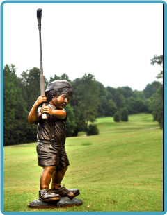 Cast Bronze Little Boy Golfing Statue