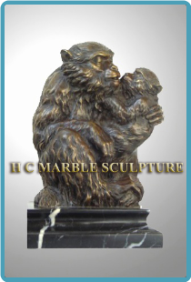Bronze Small Sculpture Mother Monkey and Baby