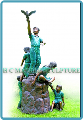 Bronze Statue 5 Children Playing on a Rock