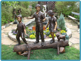 Children & Dog on Log, Bronze Statue