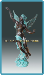Flying Angel Semi Nude Bronze Sculpture