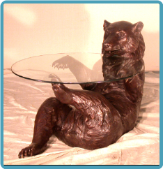 Bronze Grizzly Bear Table Base