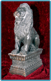 Marble Sitting Lion on Base