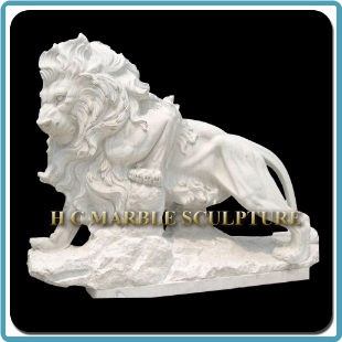 White Marble Walking Lion