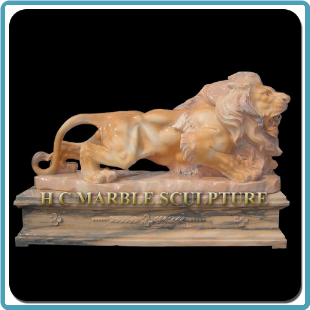 Marble Walking Lion on Platform Base