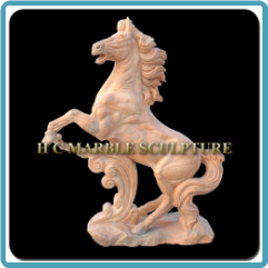 Marble Rearing Horse Life Size Sculpture