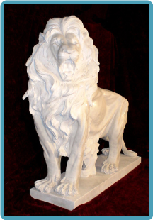 Huge Walking White Lion on Base