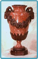 Marble Urn with Ram's Heads