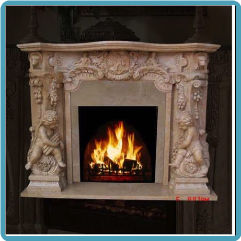 Cherub Marble Mantle, Sunset Red