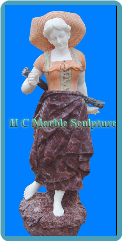 French Maiden W/Peach Straw Hat Marble Statue