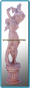 Dancing Lady on Pedestal Marble Statue
