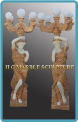 Five Globe Candelabra Lifesize Sunset Red Statue Lamp