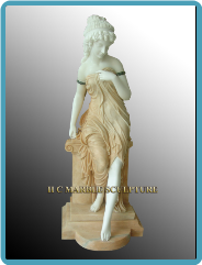 Marble Statue of A Beautiful Maiden Sitting on Pedestal