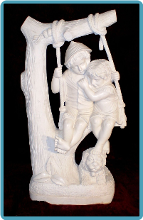 Marble Sculpture Children on Swing