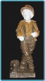 Marble Sculpture School Boy w/ Dog