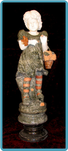 Marble Sculpture of Girl w/ Flower Basket on Base