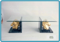 4 Horse Heads on Marble Coffee Table Base
