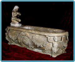 Marble Bathtub of Woman Pouring Water into tub