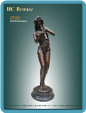 Decorative Bronze Statue of Girl Playing Flute on marble base