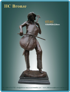 Decorative Bronze Statue of Man Playing a Base Fiddle on marble base.