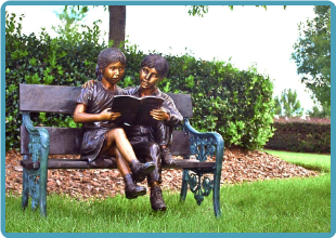 Children and Dog Reading on Bench Cast Bronze Statue