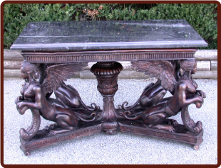 Bronze Sphinx Base w/ Marble Top Table