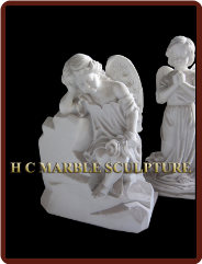 Marble Sculpture of 2 Young Angels Praying