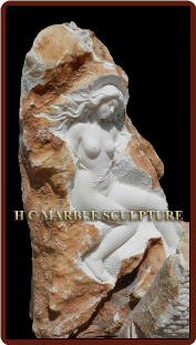 Unique Sculpture Nude Maiden carved inside rock.